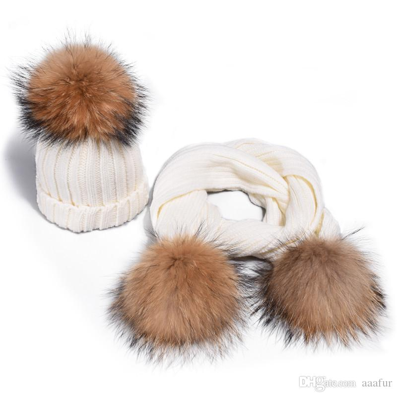 Children's Warm Knit Hats scarf fur pom poms mom and baby winter crochet knitted hats cap
