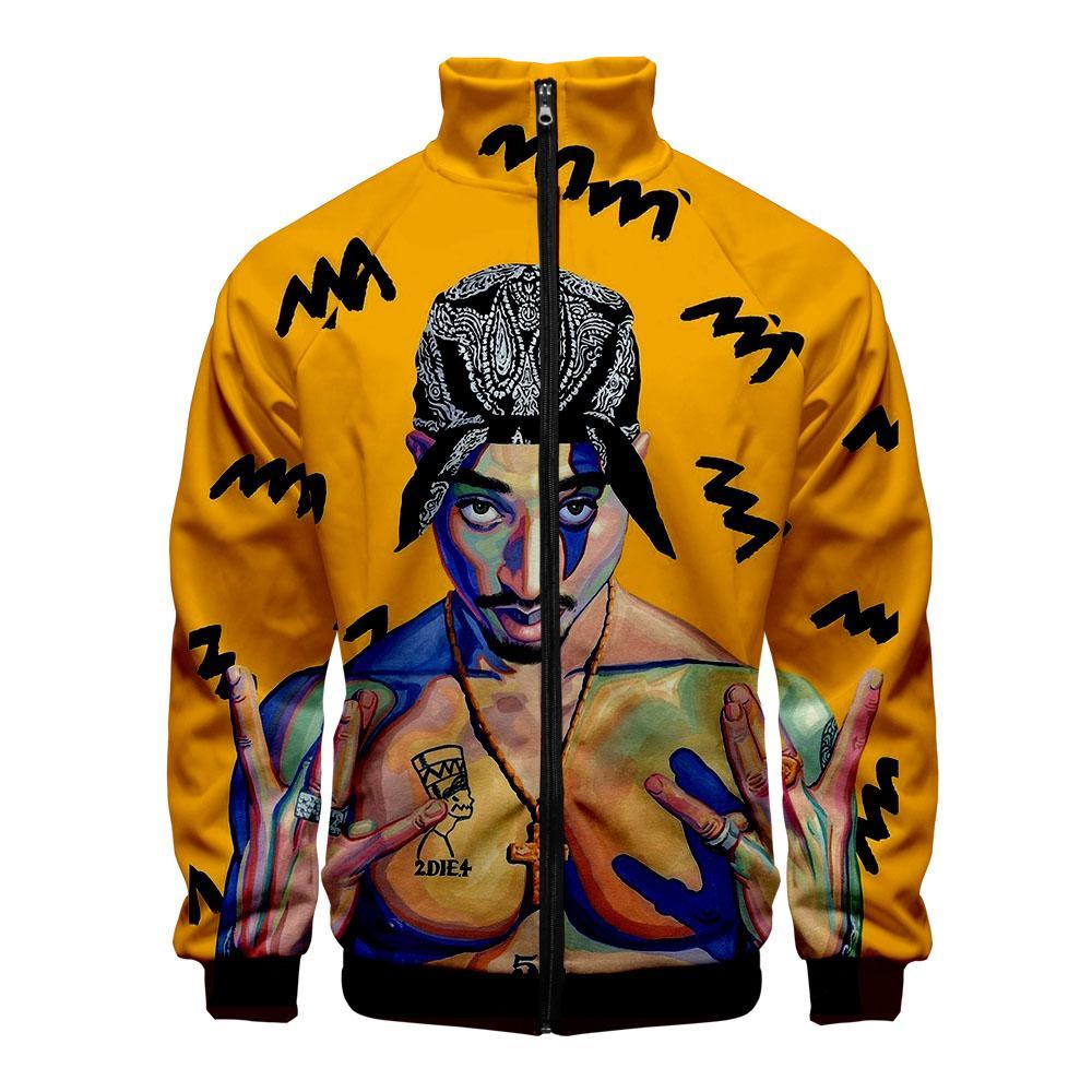 2pac Rapper Mans chaquetas y abrigos de Harajuku Streetwear del hombre de Hip Hop chaquetas 3D 2019 Cazadora Hombre Bombardero de la cremallera con capucha