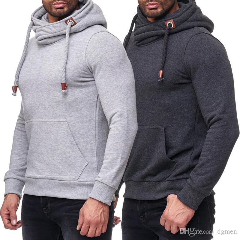 Solid Designer Mens di colore hoodies casuali con pannelli dolcevita Hoodies del Mens Moda Pullover manica lunga Maschi Abbigliamento