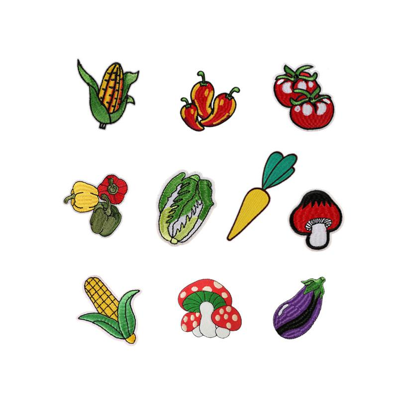 Mushroom tomato Embroidery patch vegetable shape cloth Back gum Iron applique skirt jeans clothing sewing decorative accessories DL_CPIF005