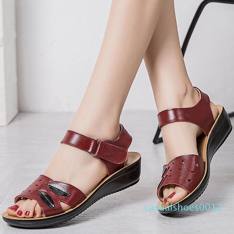 DORATASIA Elegant Split Leather Shoes Summer Hot Med Wedges Leisure Sandals Women Summer Comfy Casual Flat Sandals c12