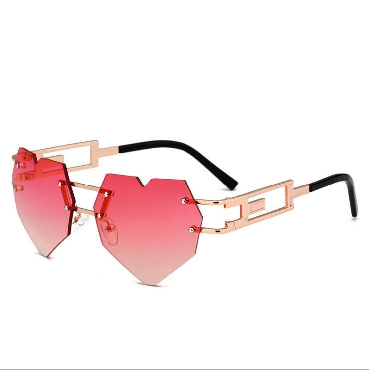 Linda sexy retro en forma de corazón ojo gafas de sol mujer pequeña rosa claro vintage barato gafas de sol lentes