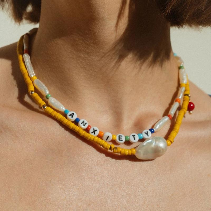 women ANXIETY NECKLACE Yellow Howlite seed bead Freshwater pearl GELA NECKLACE