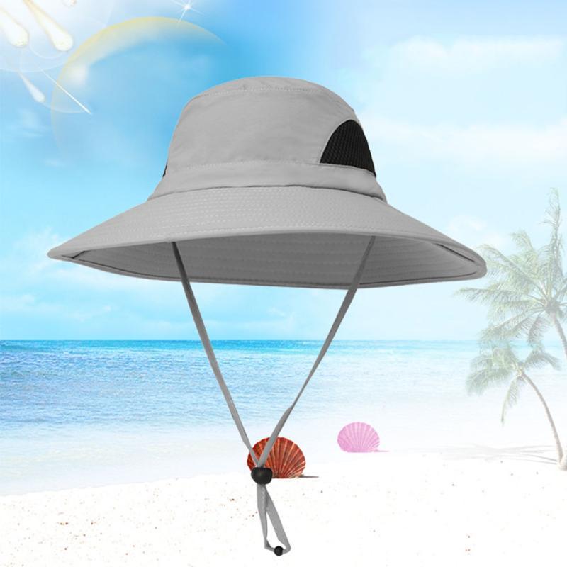 Plage Showerproof Pêche Protection UV Hommes Chapeau pliable étanche large Brim avec sangle réglable Mesh respirant Couronne