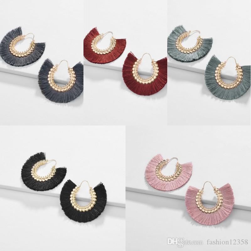 Personnalité main Tassel Boucles d'oreilles multi-couleurs Boho style Dangle Fan-forme Eardrop femmes de soirée de mariage bijoux 7 Styles