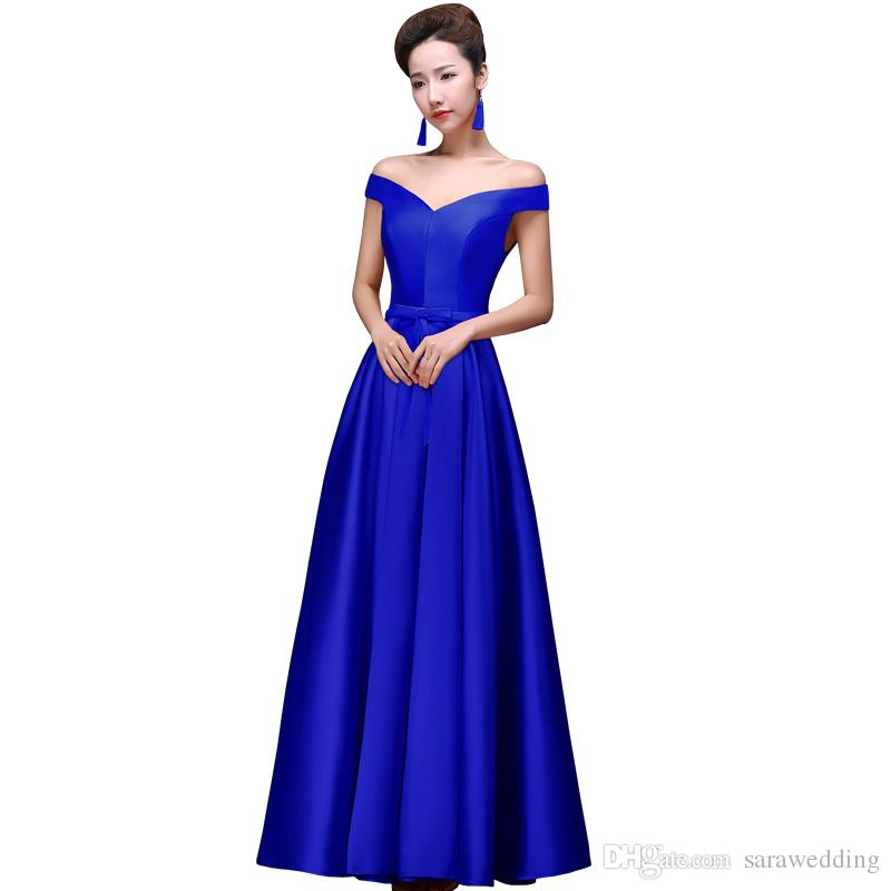Simple Satin Long Evening Dresses with Bow 2019 Off Shoulder Evening Gowns Lace Up Party Dress Royal Blue Red Ivory