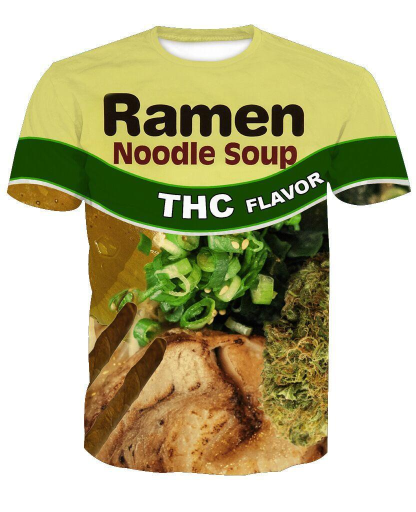 New Beef/Chicken Flavor Ramen Noodle Soup Foods T-shirt Women Men Summer Unisex Funny 3d Print Short Sleeve Crewneck Casual Tops Q445