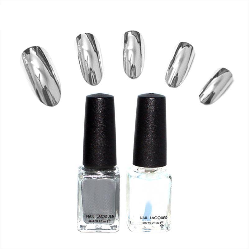 2pc/lot 6ml Silver Mirror Effect Metal Nail Polish Varnish Top Coat Metallic Nails Art Tips nail polish set