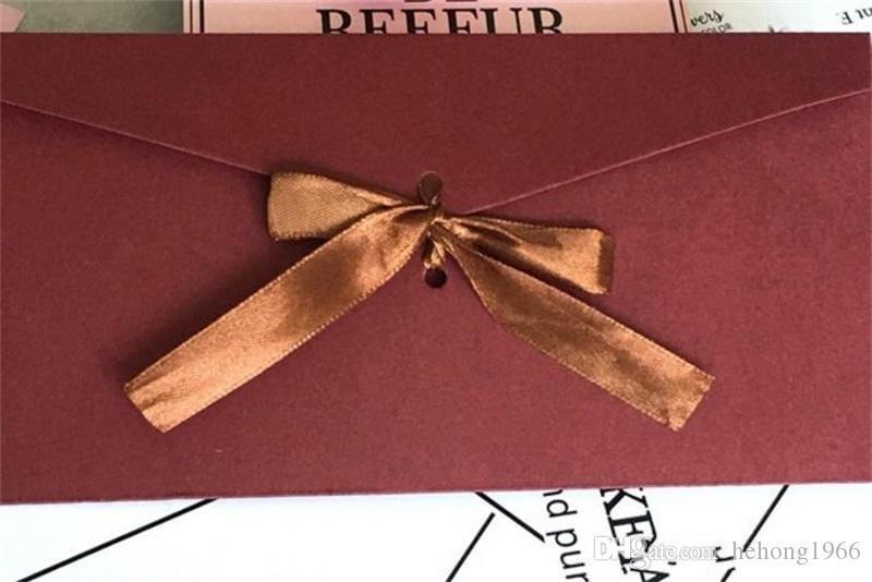 Оригинальность шелковая лента конверт ретро красочная упаковка коробка конверты чистый цвет пустой пригласительный билет подарок с бантом 0 65yf ff