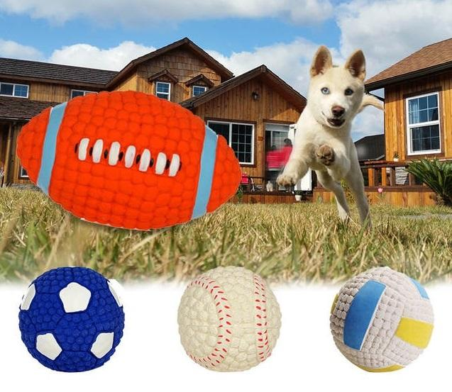 Pet Dog Toy Balls Squeak Dog training Puppy Toys Interesting Tennis Football Tooth Cleaning Toys for Dogs Pet Supply