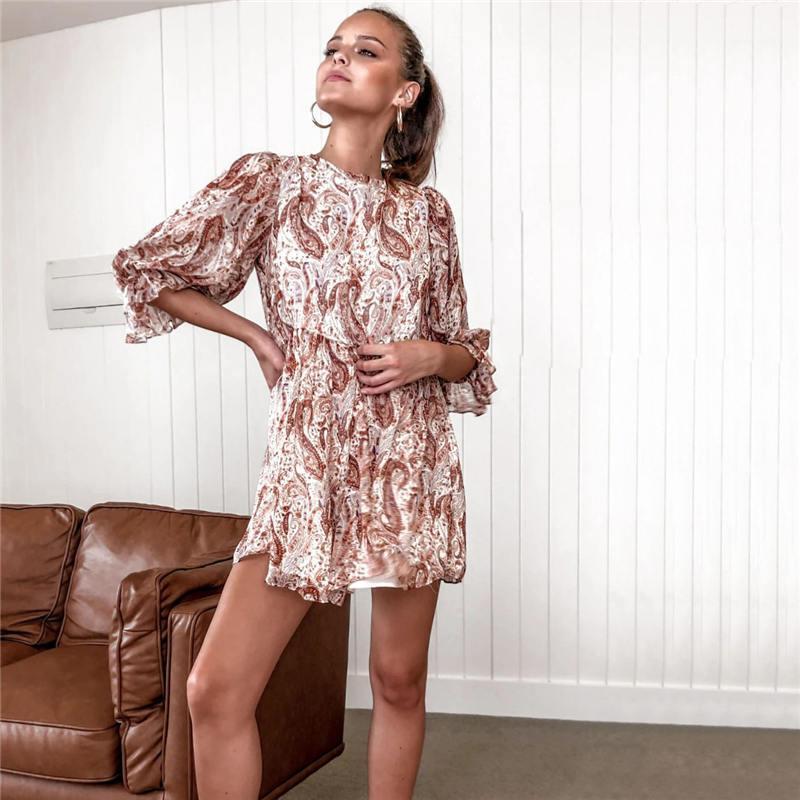 Сыпучие женские платья Повседневные платья Цветочные Printed Винтажная женская рубашка платья весна отворотом Neck с длинным рукавом