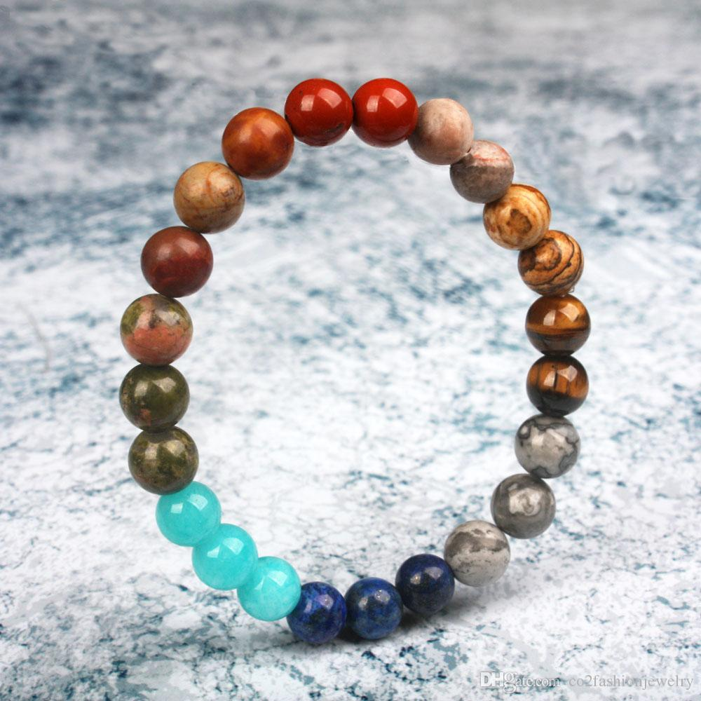 в наличии Universe Премиум Space Planets Солнечной системы Природный камень бисер браслет Chakra Yoga браслет Dropship оптовая продажа ювелирных изделий
