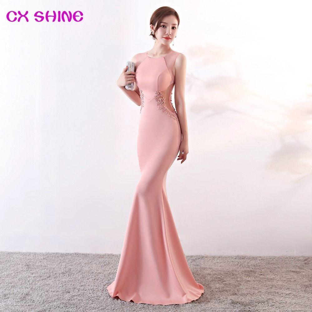 Long Evening Dresses Cx Shine Lace Flowers Beading Sexy Mermaid Trumpet Long Prom Party Dress Elasticity Robe De Soiree Vestidos Y19072901