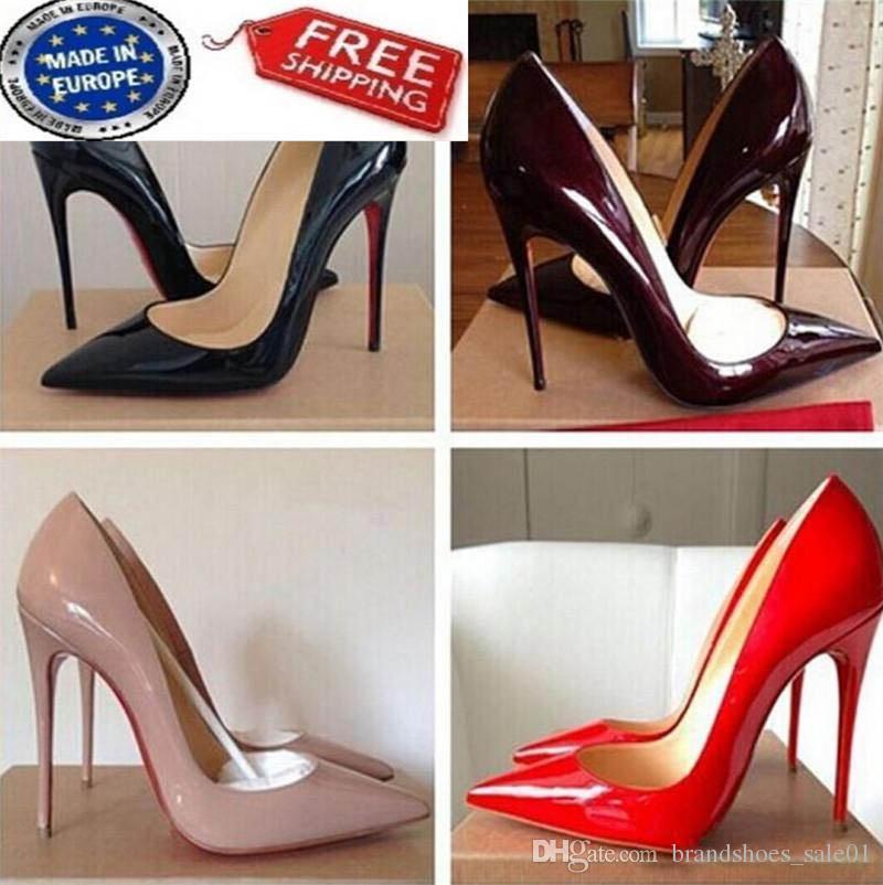 Kostenloser Versand So Kate Styles 8cm 10cm 12cm hohe Absätze Schuh-rote Unterseite Nude Farbe Gelor echtes Leder Punkt Toe Pumps Gummibrautschuhe