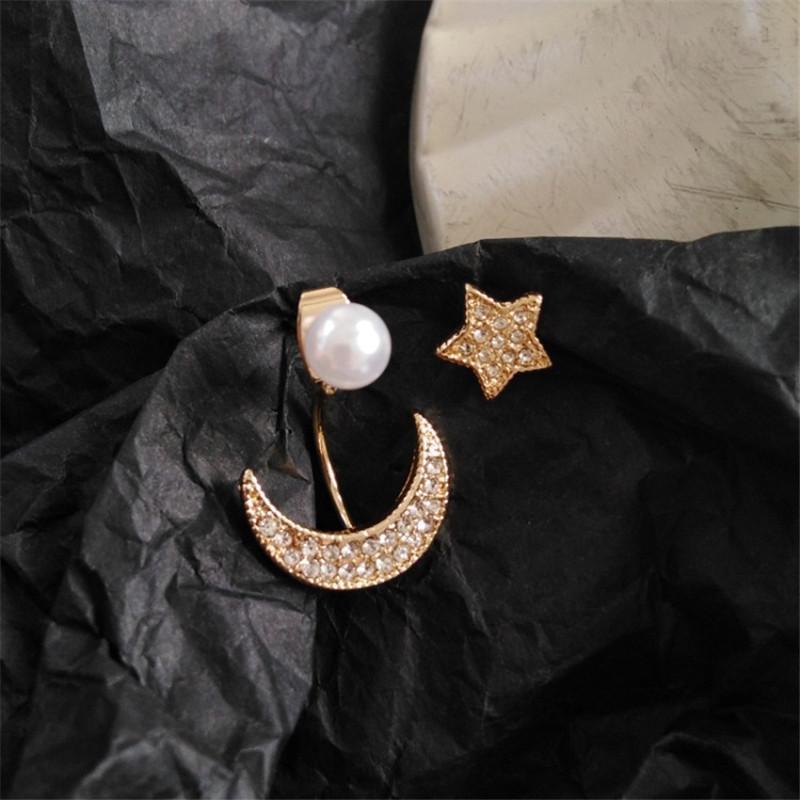 Vintage Asymmetrische Kristallstern Mond mit simulierten Perlen-Bolzen-Ohrringe für Frauen Hochzeit Schmuck
