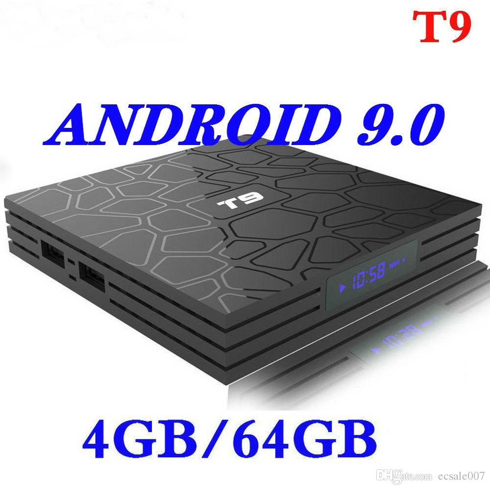 4G / 64G Boîte de télévision intelligente Android 9.0 T9 4K RK3318 Quad Core 4GB 32G USB3.0 Définir les boîtes supérieures 5G Dual WiFi Media Player avec écran LED