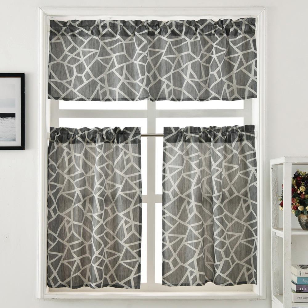 Cozinha tratamento da janela cortina jacquard projeto bolso de haste curta cortina de painel de saia e camadas moderna xadrez geométrica