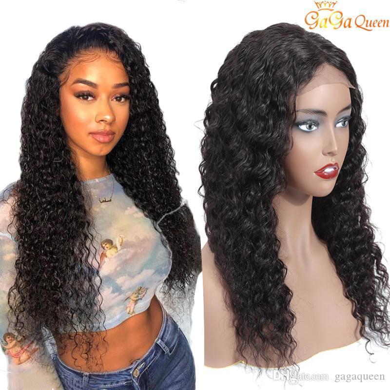 Бразильские глубокая волна парики 4x4 кружева фронтальные парики новое поступление бразильские человеческие волосы кружева фронтальный парик природа цвет