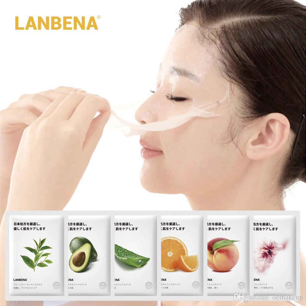 LANBENA قناع الفاكهة قناع الوجه اليابان تركيبة متطورة تبييض ترطيب قفل محطة مياه العذبة استخراج قناع الوجه ورقة