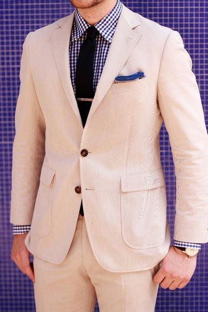 2018 New Custom Made Khaki Leinen Mens-Klagen für Strand-Hochzeit Casual Man Anzug Bräutigam Smoking Groomsman Wear (Jacket + Pants) terno