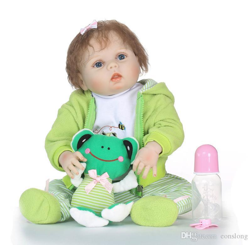 Real life 22inch Reborn Toddler Dolls Travel Frog Cute Silicone Lifelike Babies