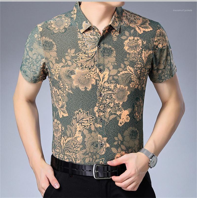 Manches T-shirts de luxe d'affaires des hommes T-shirts d'été imprimé Polo Designer Floral Fashion Lapel manches courtes