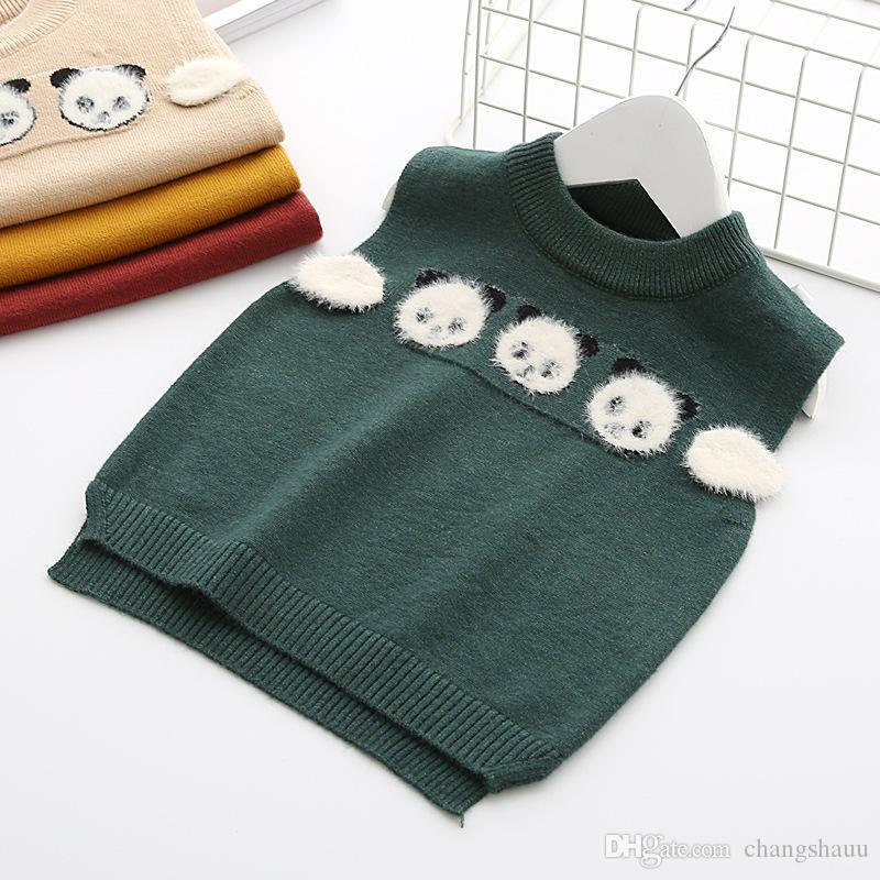 Casual Abbigliamento per bambini Sweater Vest 2019 Autunno Pullover bello del panda che lavora a maglia Vest bambini di autunno