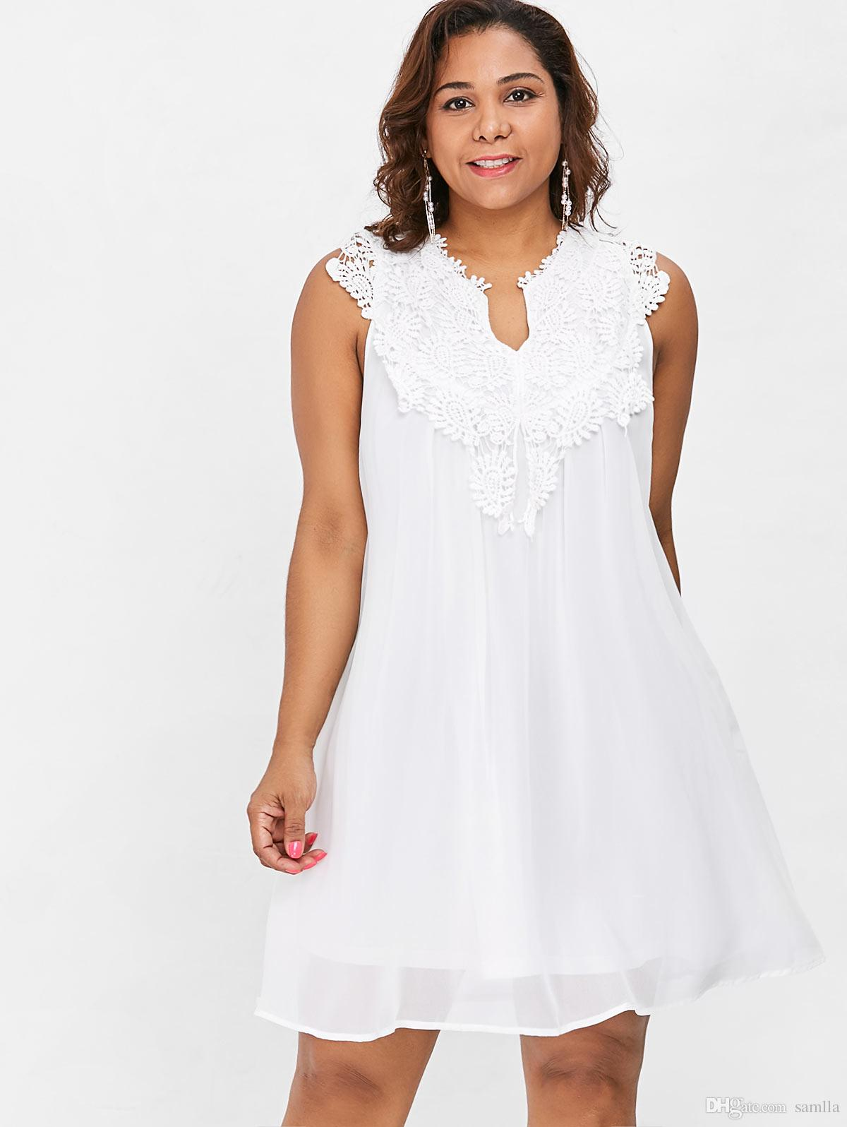 2019 Crochet Panel Babydoll Dress Plus Size Women V Neck Hollow Out Lace  Spliced Mini A Line Chiffon Dress Vestidos 5XL From Samlla, $31.76   ...