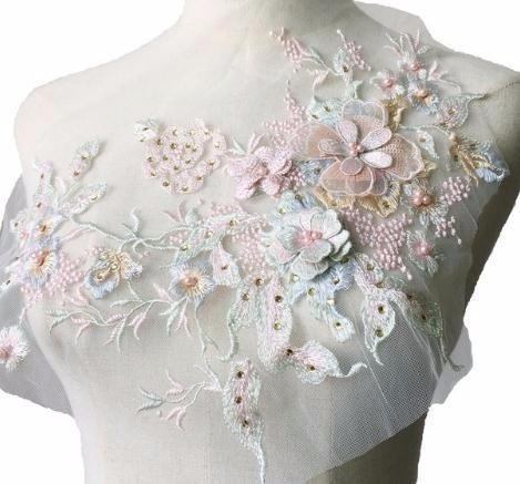One Piece 30*23cm 3D Flower Colorful Mesh Embroidered Pearl Beaded Applique With Sequins DIY Lace Fabric Trim