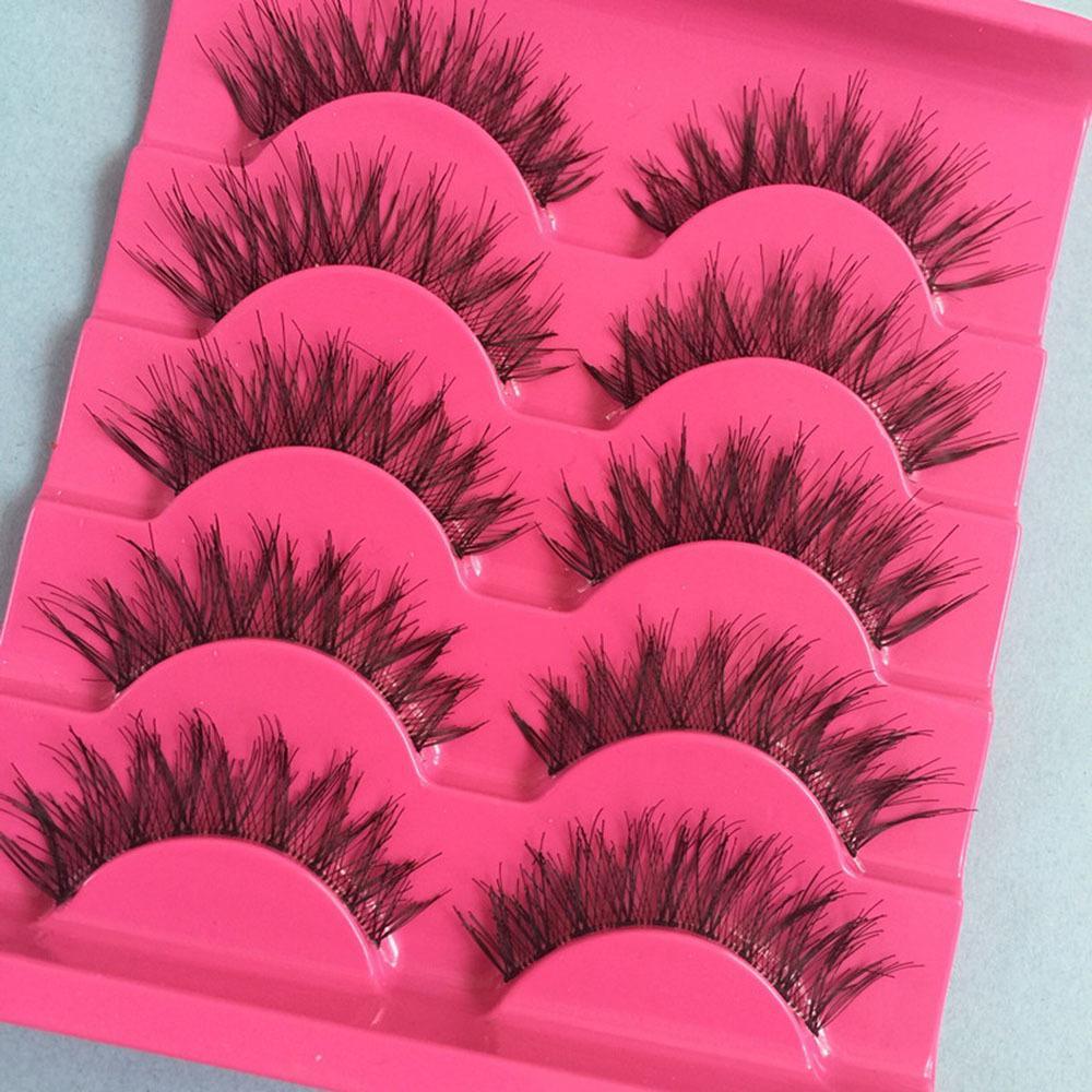 5pairs Handmade Natural Long Cross False Eyelashes Soft Lashes Makeup Thick Fake False Eyelashes Extension Tools