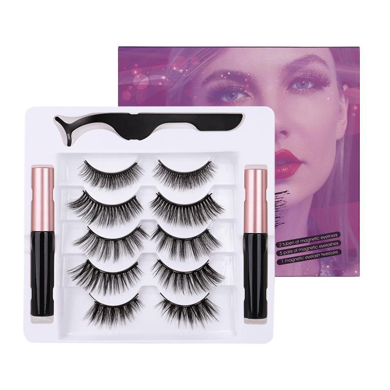 Doğal manyetik sahte kirpikler 5 çift mıknatıs likit eyeliner + cımbız göz makyajı DHL Free ile kalın yumuşak sahte kirpiklere set