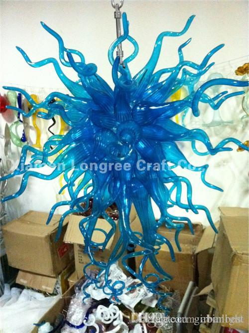 Antique Murano Glass Cheap Chandeliers Lights Style Pretty Blue Blown Glass Hanging LED Decorative Chandeliers and Pendant Lamps