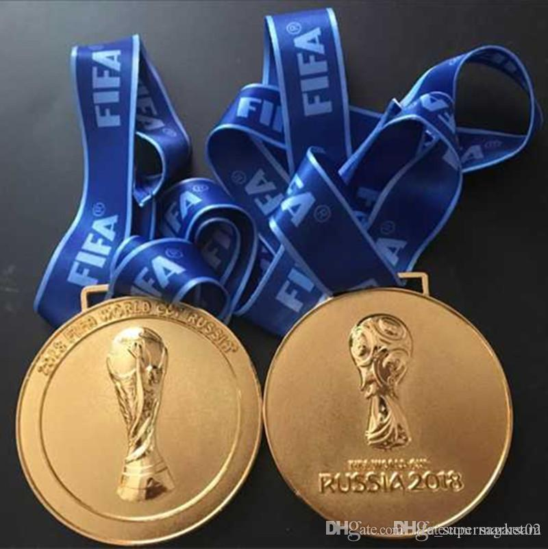 10 pcs de 2018 mundo futebol russo copo campeonato crachá medalha de ouro com fita 85 mm de diâmetro de cerca de 160g badge