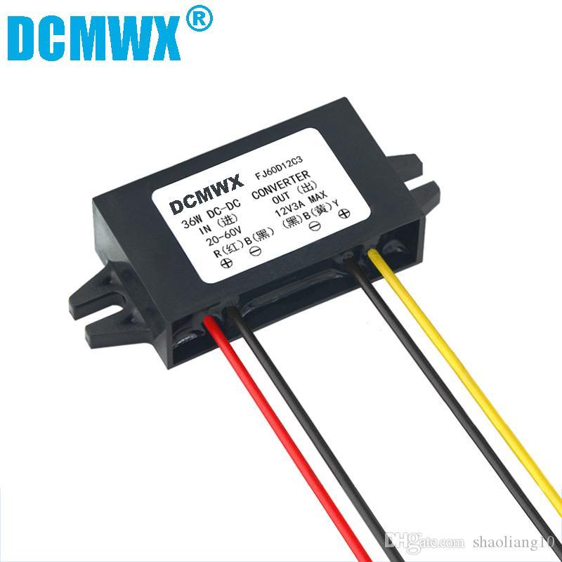DCMWX 60V 48V 36V 24V a 12V 1A 2A 3A Convertidor de CC 48V a 12V Convertidor de voltaje Módulo reductor para coche Camión autobús Vehículo Energía