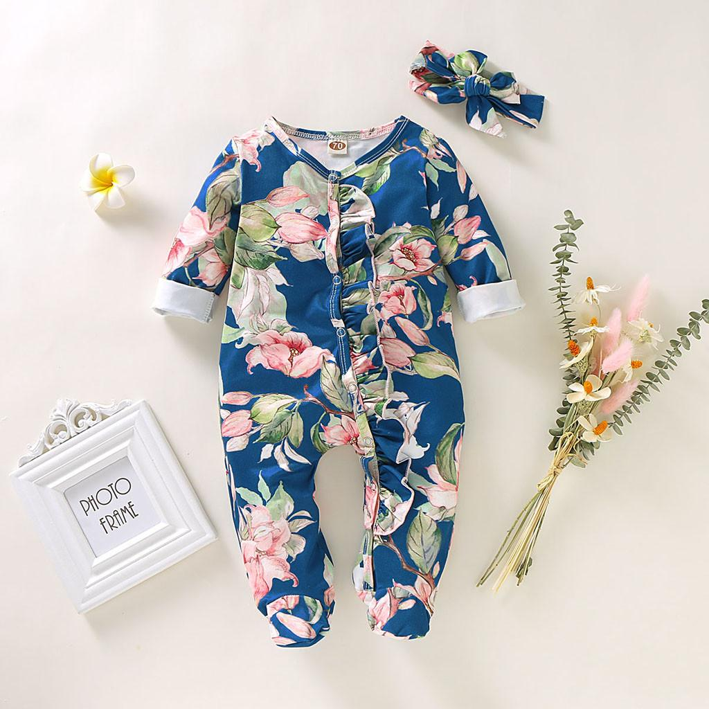 Baby Girl Boy Romper Cotton Winter Autumn Newborn Infant Footed Sleeper Romper Headband Romantic Floral Jumpsuit Outfits Set