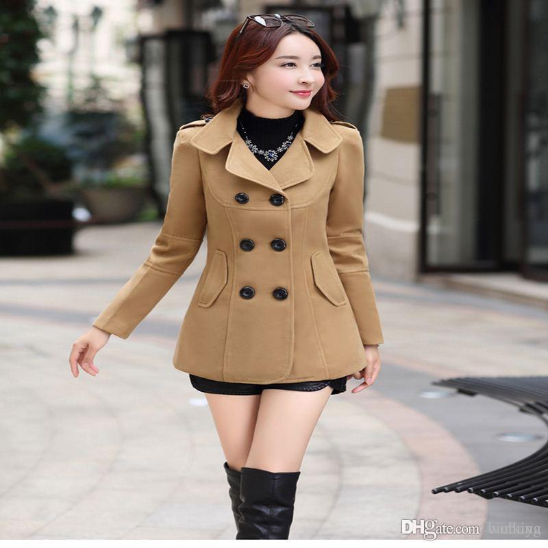 2017 Autunno Inverno nuove donne di moda cappotto di lana cappotto doppio petto elegante aderente bozzolo di lana cappotto lungo tinta unita LU304