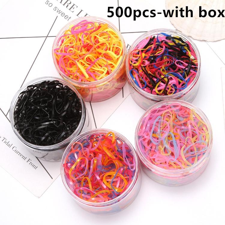 400Pcs / box Girls Colourful Rubber Bands 300pcs in bags Children Elastic Hair Bands Ponytail حامل ذيل الحصان