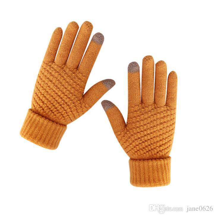 Сенсорный экран зимние вязаные перчатки для женщин легкий вес теплый 2 пальца сенсорный экран технологии бесплатная доставка