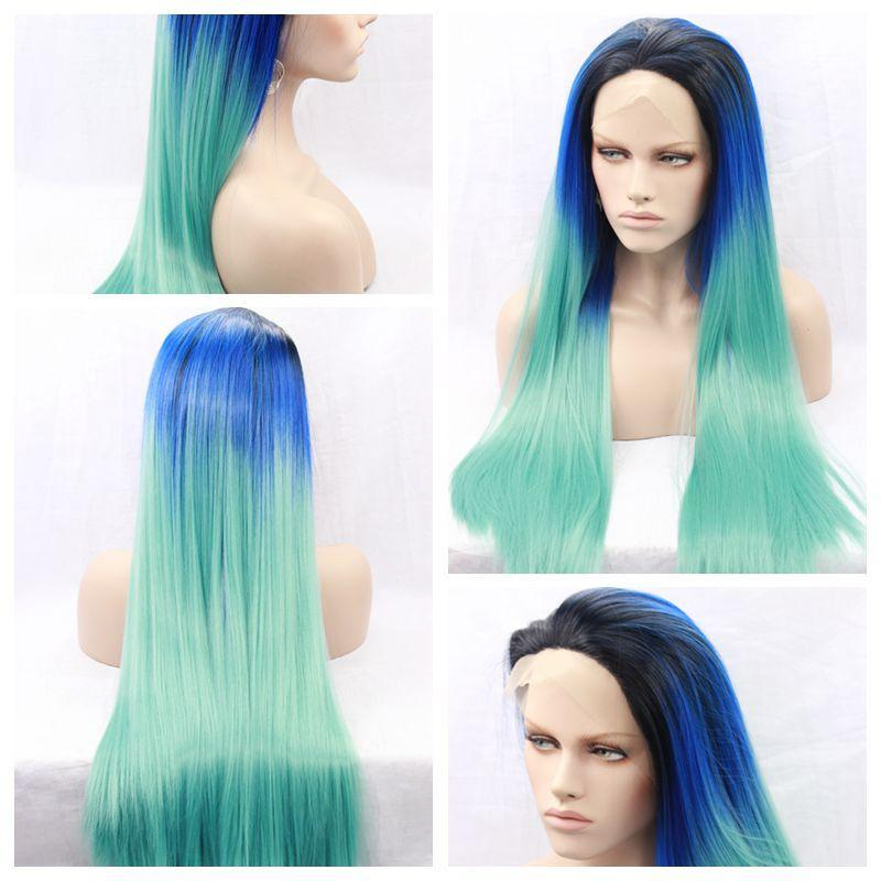 Wholesale Cheap Ombre Blue Green Long Silky Straight Lace Front Wigs Heat Resistant Glueless Synthetic Lace Front Wigs for Black Women