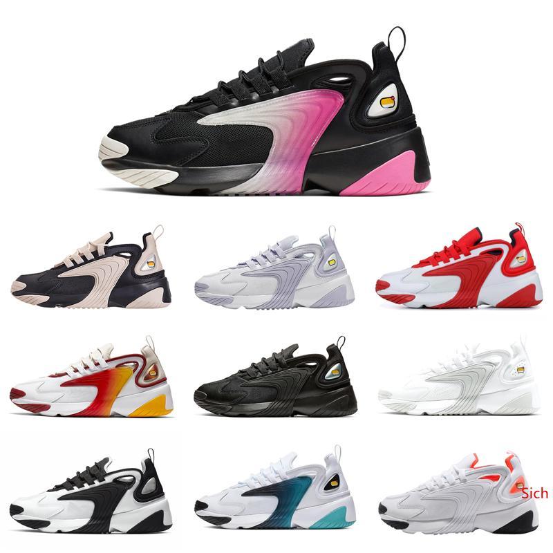 Blanco Rojo del arco iris zapatos corrientes de zoom 2K m2K hombres Tekno Race rojo azul gris oscuro Hombres Mujeres Zapatos causales