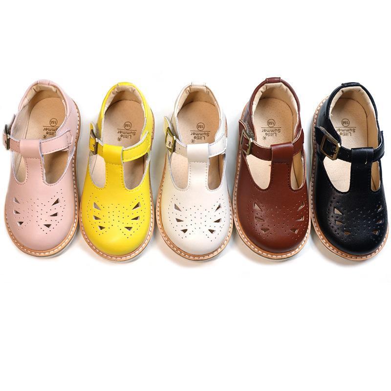 진짜 가죽 여자 샌들 중공 통기성 아기 공주는 미끄럼 방지를 하드 하단 아동 샌들 Y200103 신발