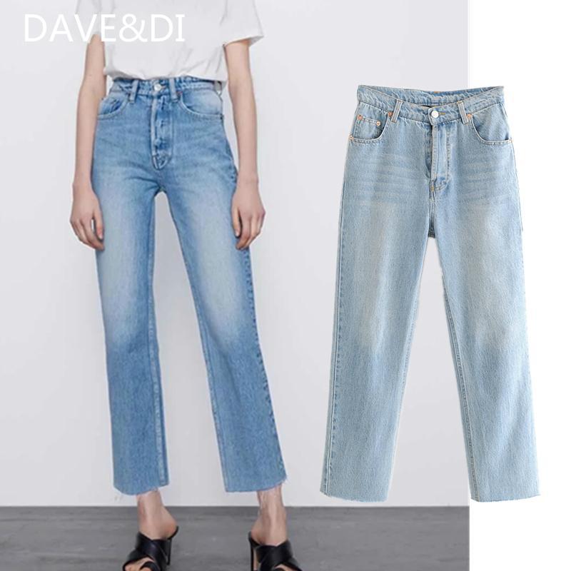 DAVEDI SS 2020 ins roupa blogger wahsed calça jeans mulher regulares altos rebarbas de jeans de cintura para as mulheres namorado para mulheres