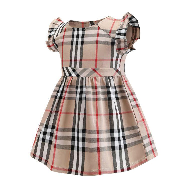 Детская юбка-Ся Гэ Цзы юбка лацкане коротким рукавом у детей Ребенок хлопок материал девочка платье 0201