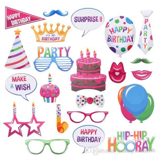 1Set Birthday Party Decorations 22 Pcs Happy Birthday Photo Booth Props Funny Creative Birthday Decor For Celebrating Birth