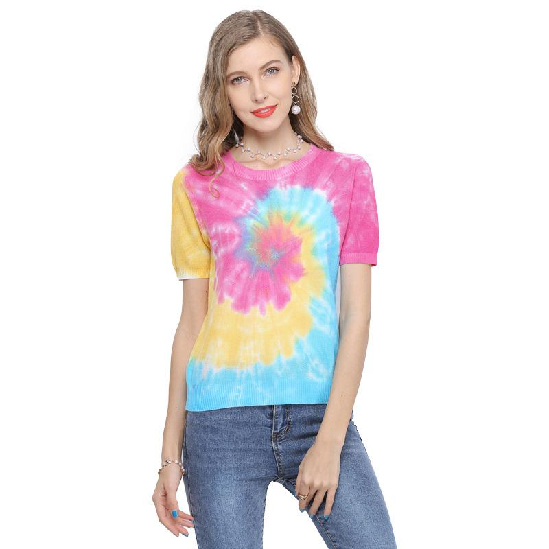 كبير الحجم ملابس المرأة 2020 الصيف قصير الأكمام البلوز البلوز جولة الرقبة فضفاض محبوك الأعلى الساخن بيع جيرسي