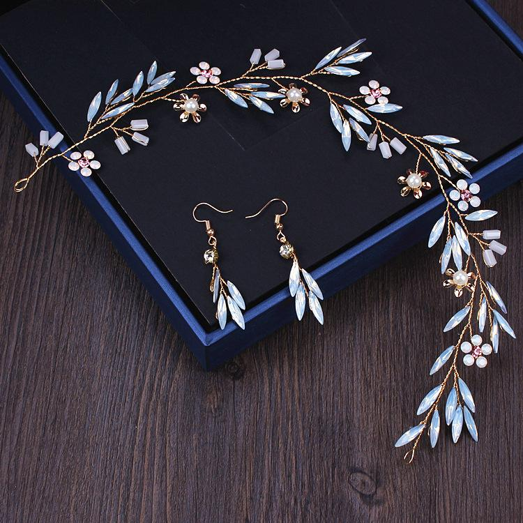 headring orecchino vestito della sposa matrimonio testa sensuale fiore Eearrings set di capelli di nozze fata bellezza della damigella d'onore