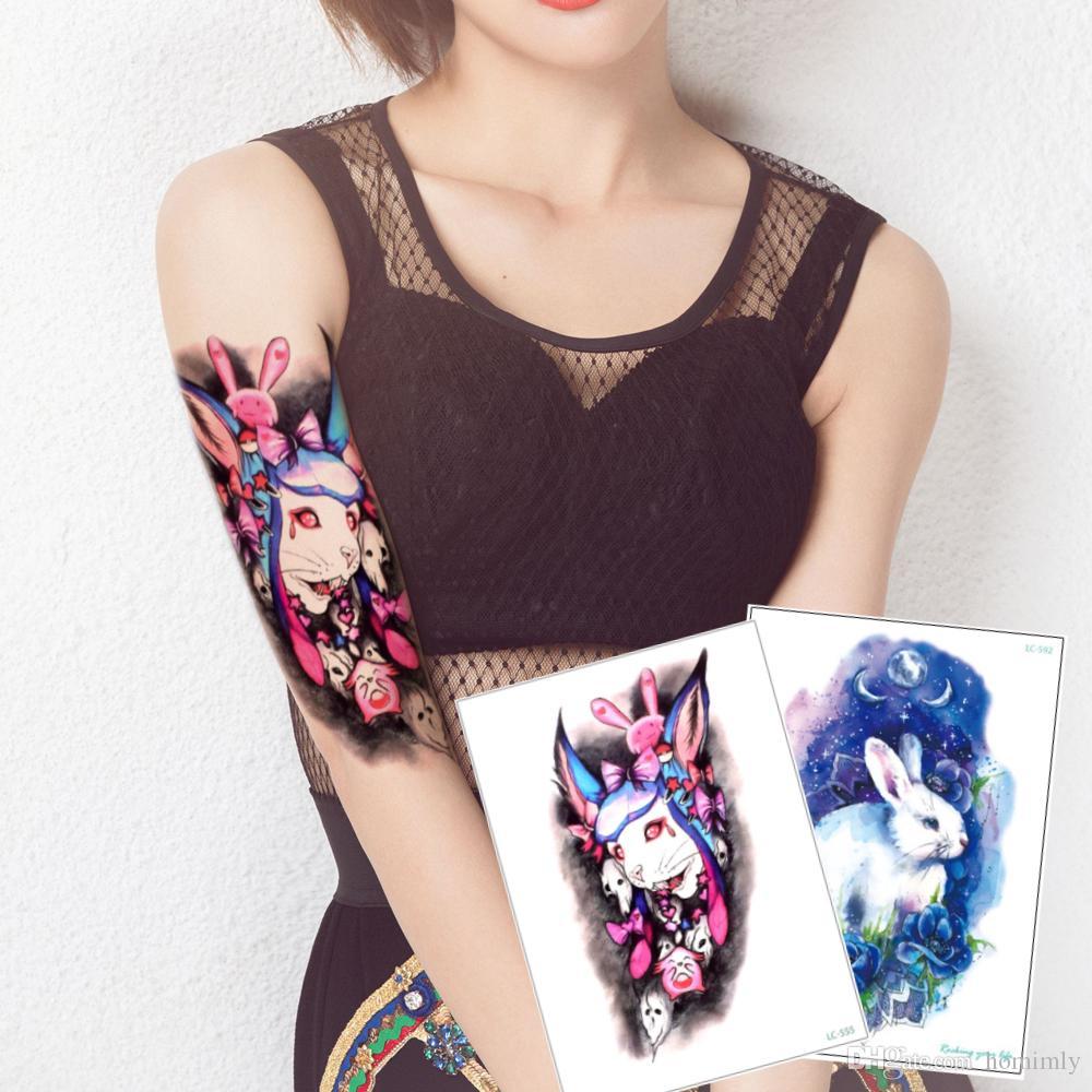 Cool Rabbit Tattoo Arm Leg Body Art Sticker Personalize Temporary Tattoo Moon Blue Enchantress Decals Makeup Tool Accessories Summer Holiday