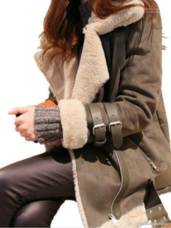 Down Collar Grosso Quente revestimento do revestimento das mulheres Suede Leather Jacket Cordeiro Designer Coats Inverno Ligue