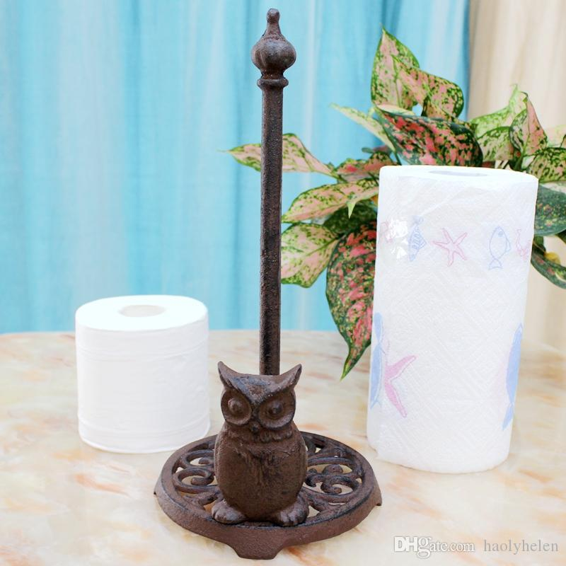 3 Pieces Cast Iron Owl Paper Roll Towel Holder Roll Paper Stand Rustic Brown Home Kitchen Living Room Study Ware Decor Metal Crafts Vintage