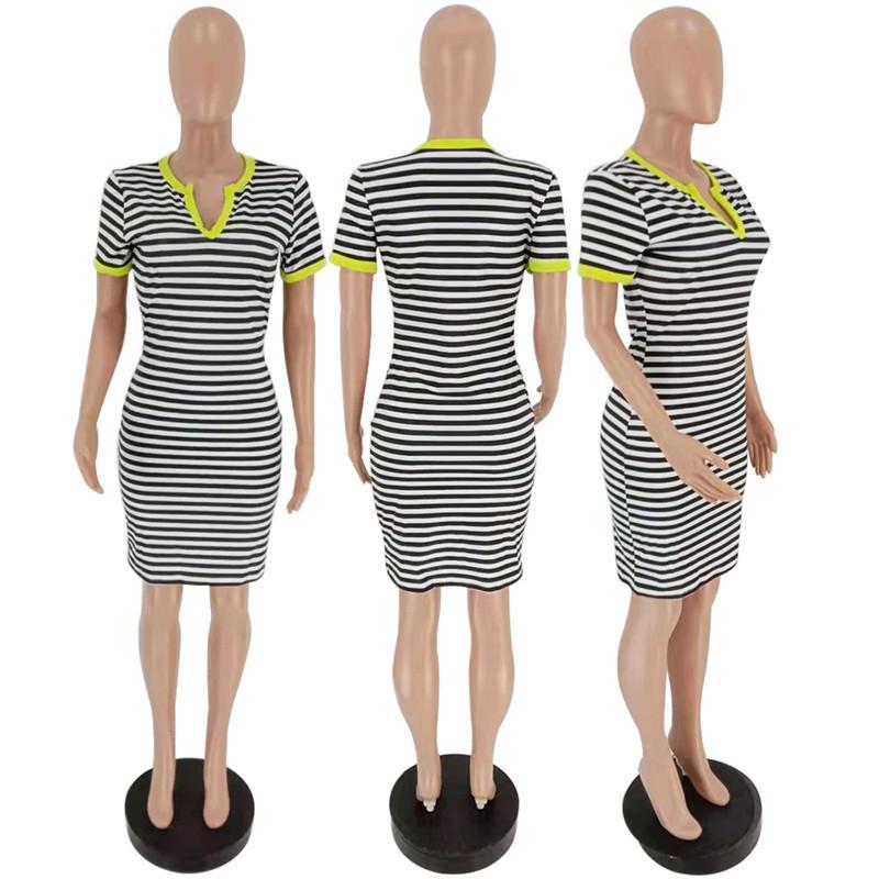 المرأة قطعة واحدة اللباس مخطط مصمم التي شيرت فساتين قصيرة الأكمام التي شيرت نحيل الهيئة غير الرسمية التنورة V الرقبة الأعلى تيز نادي الحزب ملابس CZ706